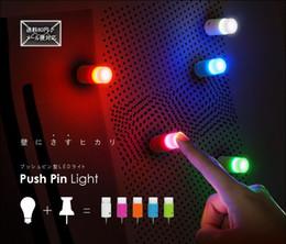 Wholesale Led Push Pins - Wholesale-Wholesale Free Shipping 5 pieces  Lot Push pin light One touch light Mini night light LED light Romantic Bar light