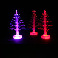 Wholesale Led Fiber Optic Lamp - Wholesale-Retail-B Mini Colorful LED Fiber Optic Nightlight Xmas Tree Lamp Light Children's Gift FS