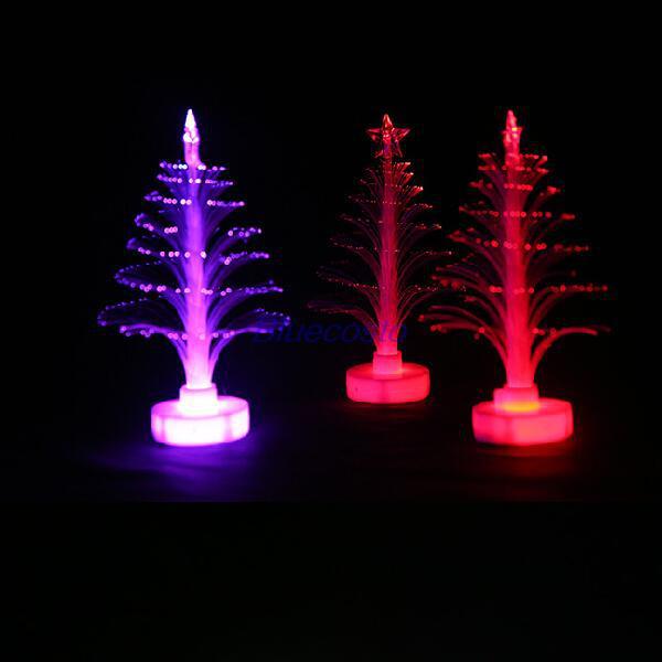 Gros-Retail-B Mini Coloré LED Fibre Optique Veilleuse Xmas Arbre Lampe Lumière Enfants Cadeau FS