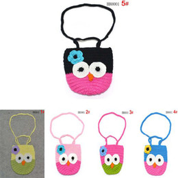 Wholesale Owl Knit Bag - Wholesale-The Newest Free Shipping Animal Designs Crochet Owl Handbags 100% Handmade Knitted Bags 5 Colors