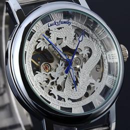 Wholesale Dragon Phoenix - Wholesale-Unique Phoenix Unisex Dragon Pattern Cut-out Manual Wind Analog Transparent Mechanical Men's Watches Strap Gold Wristwatches