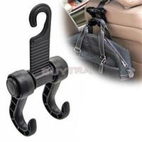 Wholesale Fabric Car Seats - Wholesale- New Personality Utility Convenient Double Vehicle Hangers Auto Car Seat Headrest Bag Hook
