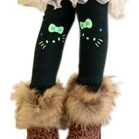 Wholesale Warm Leggings For Girls - Wholesale-Free Shipping 2015 New Lovely Kitty Cartoon Velvet Cotton Girl Legging Children Thickening Winter Warm Kids Leggings For Girls