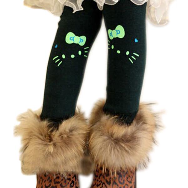 Al por mayor-libre del envío 2015 nueva encantadora gatito de dibujos animados de terciopelo de algodón chica Legging niños engrosamiento de invierno cálido niños polainas para niñas