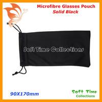 Wholesale Soft Eyeglass Pouches - Wholesale-20pcs Microfibre Black Double Drawstring Microfibre Sunglass Glasses Eyeglass Soft Case Bag Pouch Free Shipping CP030