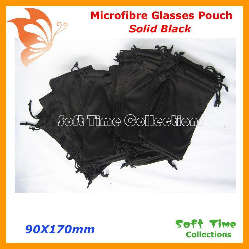 Gros-20pcs Microfibre Noir Double Cordon Microfibre Lunettes De Soleil Lunettes De Vue Souple Sac Pochette Livraison Gratuite CP030