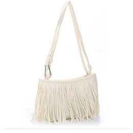 Wholesale Suede Purse Fringe Wholesale - Wholesale-Womens Tassle Tassel Fringe Faux Suede Shoulder Messenger Crossbody Bag Handbag Purse Black Brown White L09014