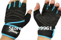 Wholesale Xinluying Fitness - Wholesale-XINLUYING half finger Fitness sports gym gloves mitts mitten Durable Non-slip with long Wrist protect