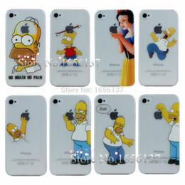 Wholesale Transparent Iphone4s Cases - Wholesale-For Apple iphone 4 4s case new arrival transparent Simpson design cell phone cases covers for iphone4s Free Shipping