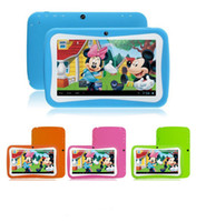 Barato Tablets Por Atacado Para Crianças-Atacado-Freeshipping 7inch Crianças Desenho Cartoon Tablet PC Android 4,4 RK3126 Quad Core 8G Aplicativos Educacionais Kids Mode Dual Camera Aniversário