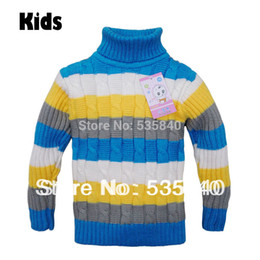 Wholesale Girls Cardigan Retail - Wholesale-Retail 2015 fall winter kids Sweater Striped CABLE Knit Turtleneck Colorful Pullovers cute Sweater for girls&boys Free