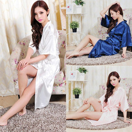 Wholesale Women S Satin Dress Shirts - Wholesale-RB009 Large Size Sexy Silk Satin Robe Bathrobe Dressing Gowns For Women Perfect Bridesmaid Robes Nightgown for Bride and Lovers