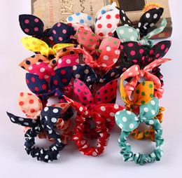 Wholesale Leopard Hair Style - Wholesale- Mix Style Clips For Hair band Polka dot leopard trip hair rope Rabbit Ears scrunchy Hair tie Baby hair accessories 8Pcs Lot
