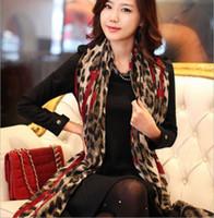 châle en mousseline rouge achat en gros de-Gros-1 PC 170 * 80 cm rouge léopard élégant longue soie douce en mousseline de soie foulard Wrap châle écharpes pour femme Lady Girls femme bufanda mujer
