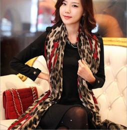 Sciarpa chiffona di seta del leopardo online-All'ingrosso-1 PC 170 * 80cm Red Leopard alla moda lungo morbido Chiffon di seta Sciarpa Wrap Scialle sciarpe per donna Lady Girls femmina bufanda mujer