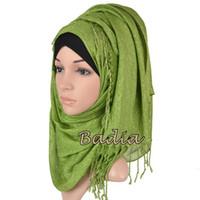Wholesale Glitter Shawls Scarves - Wholesale-One piece hijab solid plain glitter shimmer hijab scarf shinny maxi scarves tassel muslim viscose lurex shawl islamic women wrap