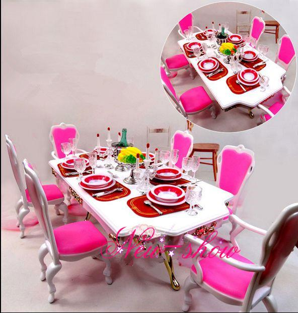 Pink Amp White Dining Table Set Dollhouse Room Furniture Saucer Chair Accessories Decoration For Barbie Kurhn Doll Toy Cheap Baby