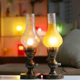 Wholesale Vintage Bronze Lamps - Wholesale-Bronze Retro nostalgic dimmable kerosene lamp bedroom bedside lamp vintage table lamp decoration E27 base