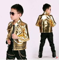 Wholesale Leather Jackets For Babies - Wholesale-2015 fashion kids baby faux leather blazers casual gold rivet shiny jacket boys suits for weddings prom clothing children outfit