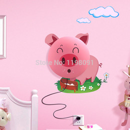 Wholesale Diy Lamp Wallpaper - Wholesale-Lovely DIY 3D Cartoon Wallpaper Stickers& Wall Lamp Kids,Children Bedroom Pink Pig Wall Lamp 4 Patters Free Shipping