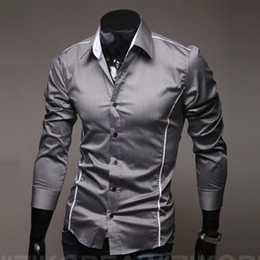 Discount stylish white shirts designs - Wholesale-Fast Shipping Brand New style Design Mens Shirts OEM high quality Casual Stylish Shirts men Size:M~4XL ( large
