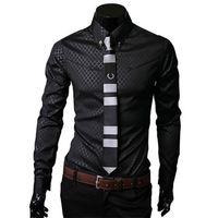 Wholesale Shirt Korea Import - Wholesale-2015 new exclusive South Korea imported fabrics Takifugu Lingge Mens Long Sleeve Shirts L212