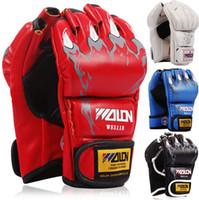 Wholesale Tattoo Box Glove - Wholesale-Wiht bone  paw tattoo, Half Finger Boxing Gloves MMA Kick Boxing Wraps Training Fight Free combat Sandbag Wraps Women Men