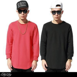 Wholesale Tyga Fashion - Wholesale-Hip hop tyga street Fashion Men`s Solid color sweatshirt cotton Long sleeve casual sport hoody extended Sweatshirts