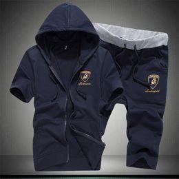 Wholesale Summer Hood Set - Wholesale-Hot 2015 mens shorts set high quality summer trend with a hood sweatshirt plus size men's clothing M L XL-5XL free shipping