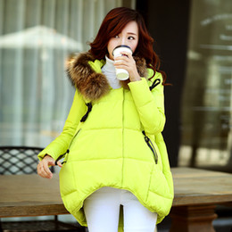 Wholesale Maternity Coat Fur - Wholesale-new 2015 winter women parkas irregular loose low-high natural fur collar hooded jacket plus size white duck down maternity coat
