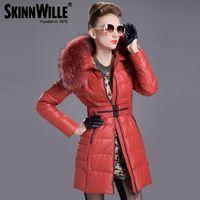 Wholesale Down Coat Racoon Fur Collar - Wholesale-2015 Luxury Brand Winter Coat Women 90% Duck Down Jacket Removable Racoon Fur Collar Zipper Front Long-Sleeve Pocket Medium-Long