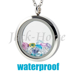 Wholesale Stainless Steel Living Lockets - Wholesale-316L Stainless Steel Water Proof 20mm 25mm 30mm glass memory floating locket living locket