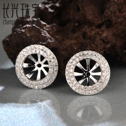 Wholesale Semi Mounts For Earrings - Wholesale-6mm Round diamond 14Kt White Gold Diamond Semi Mount Earrings Jackets for free shipping
