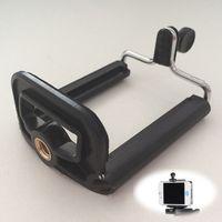 clip telefone montagem venda por atacado-Atacado-prático câmera do telefone móvel suporte para smartphone suporte clipe de montagem tripé adaptador de montagem monopé preto plasticmetal