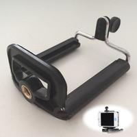 kamerahalterclip großhandel-Großhandels-praktisches Handy-Kamera-Smartphone-Standplatz-Klipp-Halter-Berg-Stativ-Einfassungs-Adapter Einbeinstativ-Klammer-Schwarzes PlasticMetal