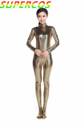 Wholesale Latex Shiny Suits - Wholesale-Free Shipping! High quality! Golden Shiny Scale Wrapped Foot Zentai Tights Suit Halloween Cosplay Costume