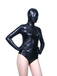 Wholesale Unitard Costume Sexy - Wholesale-BetterParty Black Shiny Metallic Zentai Catsuit Leotard Sexy Unitard Bodysuit