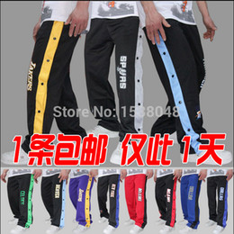 open man pants Promo Codes - Wholesale-2015 open buckle pants playing basketball warm-up pant buckle pants male sports trouserscasual trousers