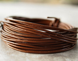 Wholesale Leather 2mm Round Brown - Wholesale-shipping Jewelry DIY 5Meters 2mm light brown cowhide round leather cord Necklace Bracelet Cord