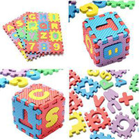 Wholesale Cheap Foam Mats - Wholesale-2015 New Unisex Kids Digital Education Toy 1-10 Numbers & A-Z 26 Letters Numeral Foam Mat Toy Cheap Alphabet Toy 6X6CM