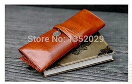 Wholesale Twilight New Moon Pu - Wholesale-Twilight New Moon retro roll leather pen pencil cases .PU makeup cosmetic bag, free postage