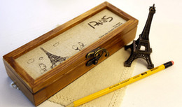 Wholesale Eifel Tower - Wholesale-Wood Pencil Case Storage Box Paris Eifel Tower Gift
