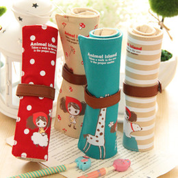 Wholesale Cute Bulk Stationery - Wholesale-Min. order is $15 (mix order) A01-4-05 Korea stationery bulk canvas pencil bag cute students receive a simple volume bags