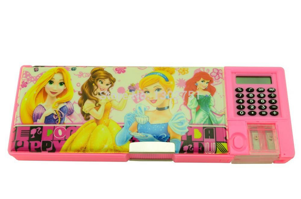 wholesale princess pencil box for school children girls pink pvc