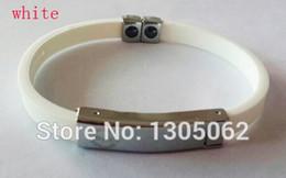 Wholesale Power Titanium Ionic Magnetic Bracelet - Wholesale-1pcs Sales promotion new style Titanium ionic magnetic silicone bands wristband power band hologram bracelet free shipping