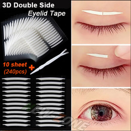Wholesale Unique Tools Gifts - Wholesale-Unique Sharp angled 3D Double Sided Invisible Eyelid Tape Strong Adhesive Eyelid Stickers gift tool 240pcs=10 sheet