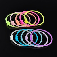 Wholesale Neon Hair Rubber Bands - Wholesale-10pcs Luminous Neon Silicone Gummy Loom Rubber Hair band Wristband Bracelet Couples walk, see a movie at evening