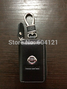 Wholesale-Brand&New Nissan Car Genuine Leather Car Key Case Holder Cover Bag+Nissan Alloy Keychain Free shipping