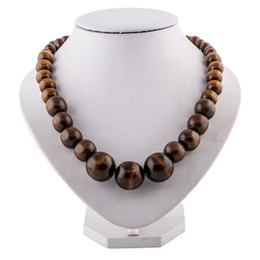 Wholesale Wood Necklaces For Men - Wholesale-Men Jewelry Wood Beaded Necklace Round Wooden Bead Chunky Necklaces Vintage Fashion Wood Jewelry For Womem Free Shipping