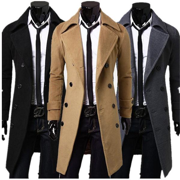 top popular Fall- New Fashion Man Jacket Winter Coat Long Sleeve Thicken Blazer Lapel Coat Men's Warm Outerwear plus size 3Colors M-XXXL 2021